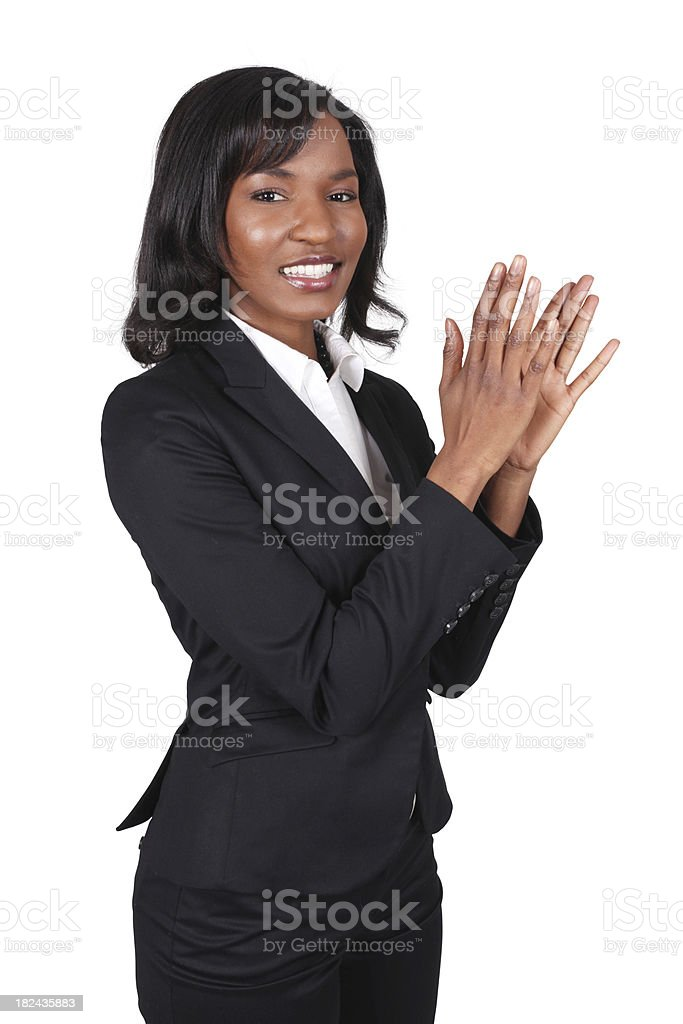 Isolated business woman clapping royalty-free stock photo