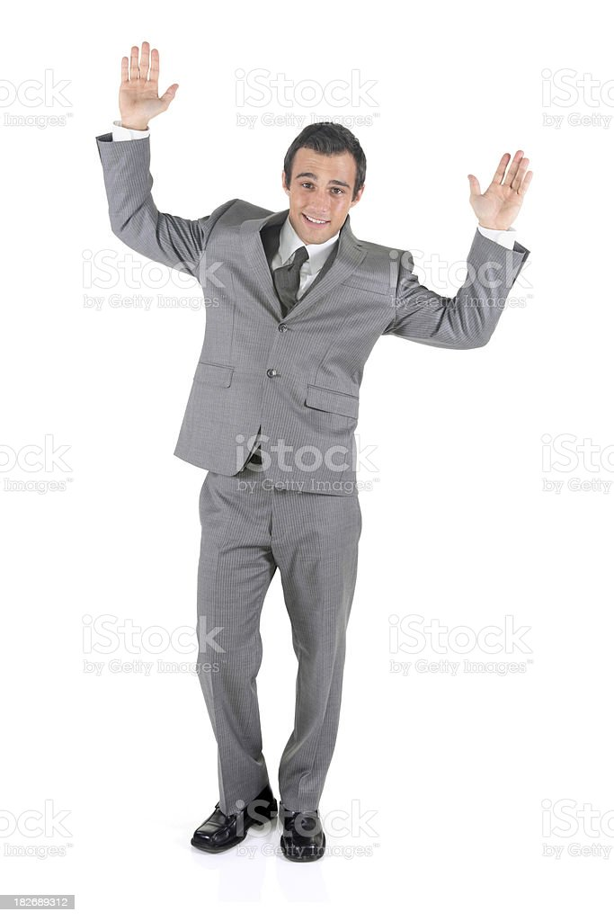 Isolated businessman arms up raising the roof royalty-free stock photo