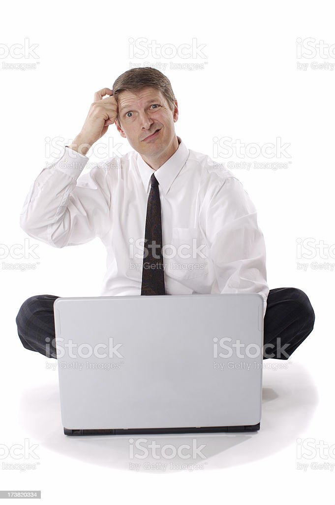 Isolated businessman figuring out royalty-free stock photo