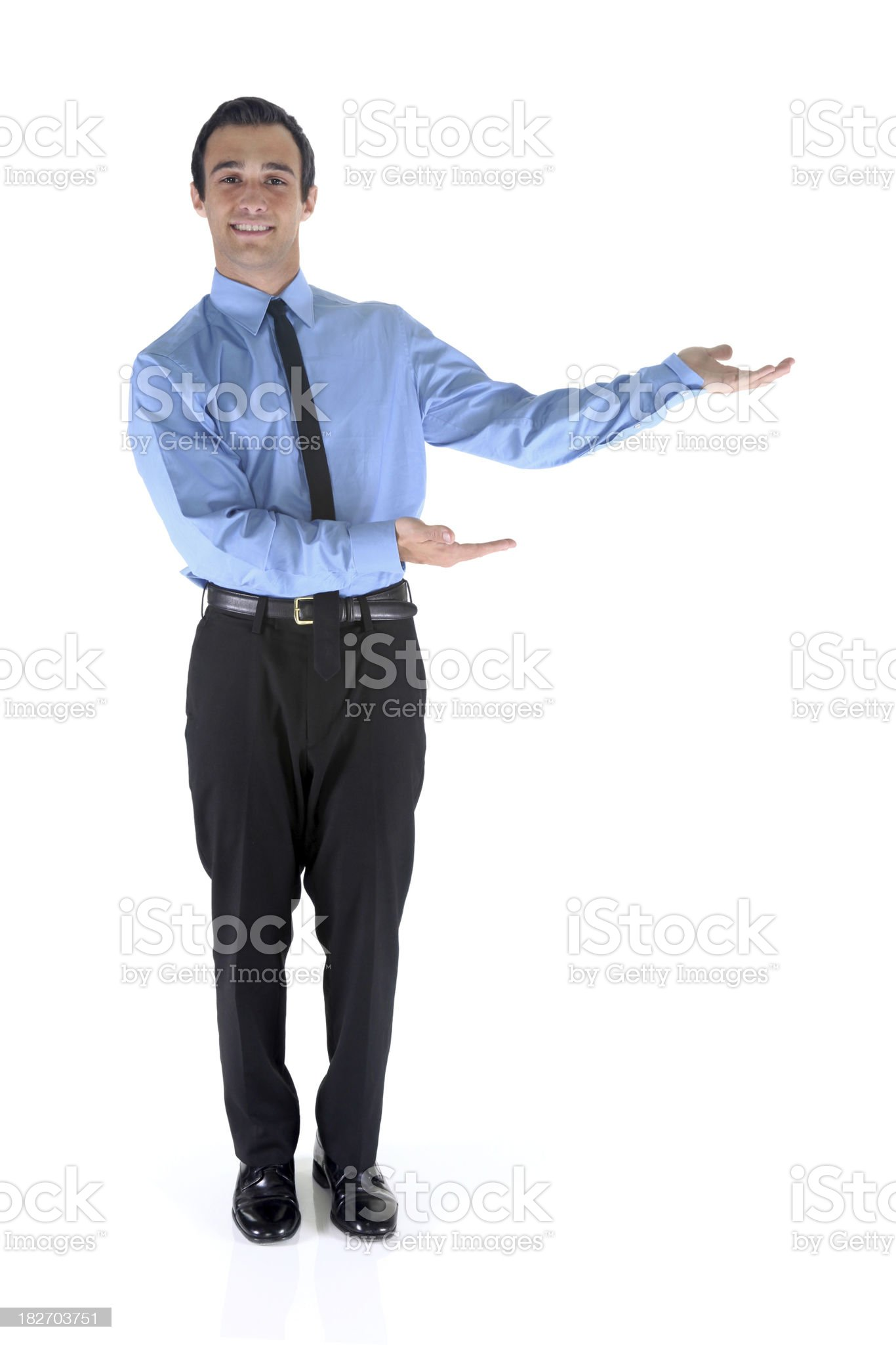 Isolated businessman presenting to the side royalty-free stock photo