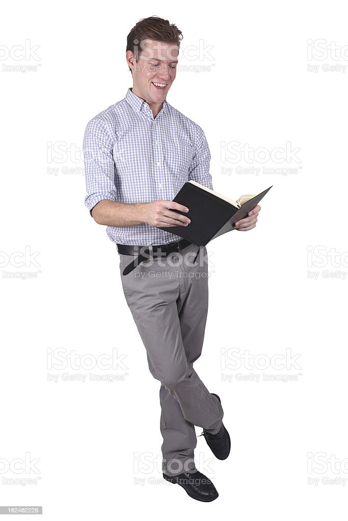 Isolated businessman reading book royalty-free stock photo