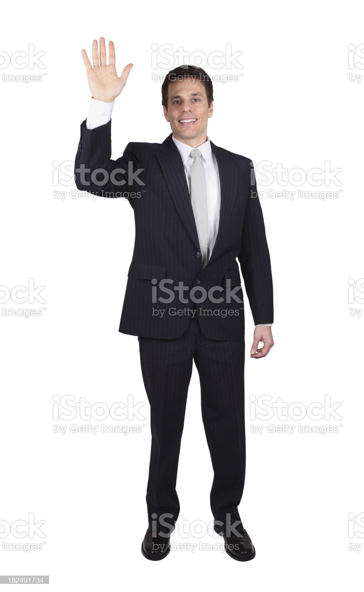 Isolated businessman waving royalty-free stock photo