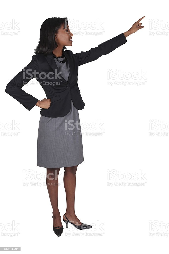 Isolated businesswoman pointing royalty-free stock photo