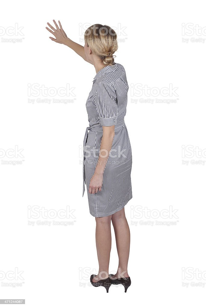 Isolated businesswoman presenting back view stock photo