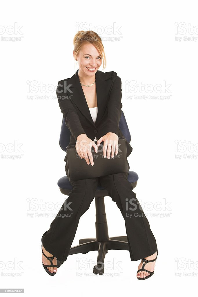 Isolated businesswoman with files royalty-free stock photo