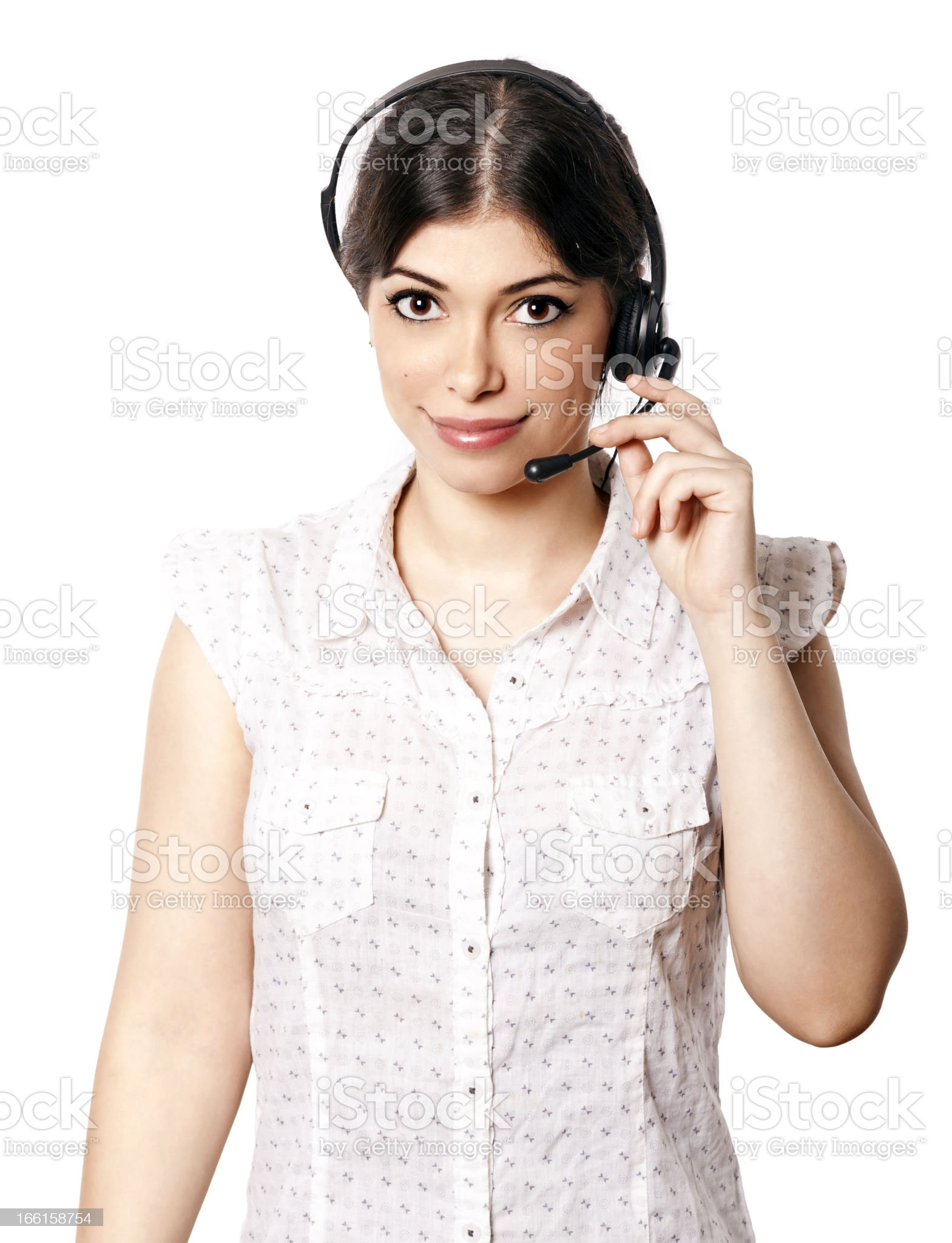 Isolated Call Center Woman royalty-free stock photo