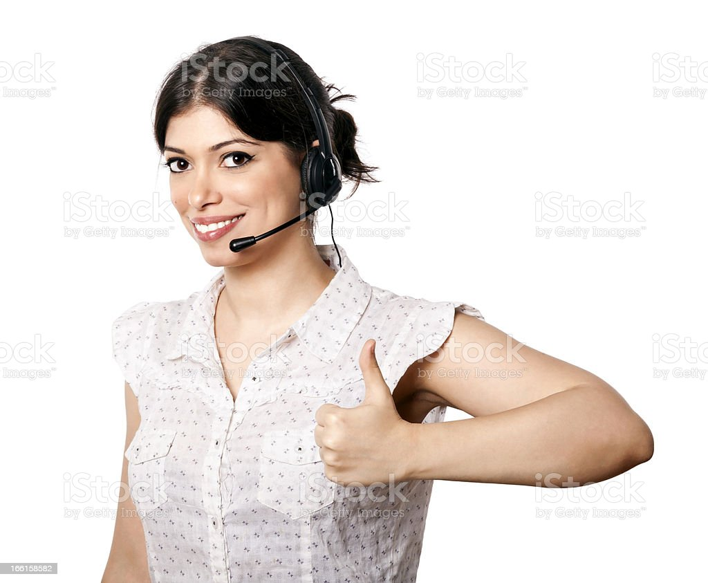 Isolated Call Center Woman Thumbs Up royalty-free stock photo
