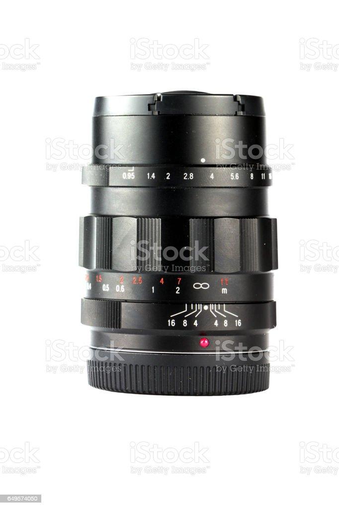 isolated camera len on white background stock photo