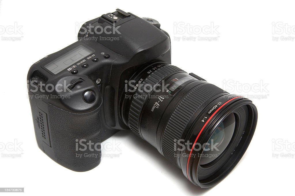 Isolated camera with lens stock photo