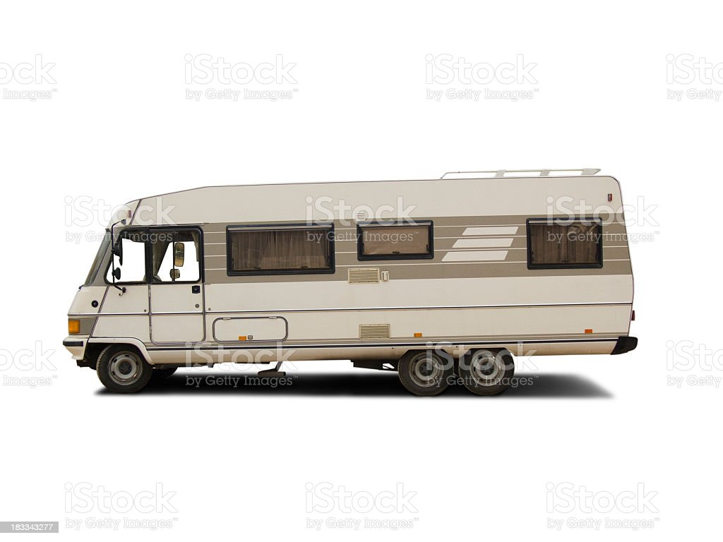 Isolated Camper on white stock photo