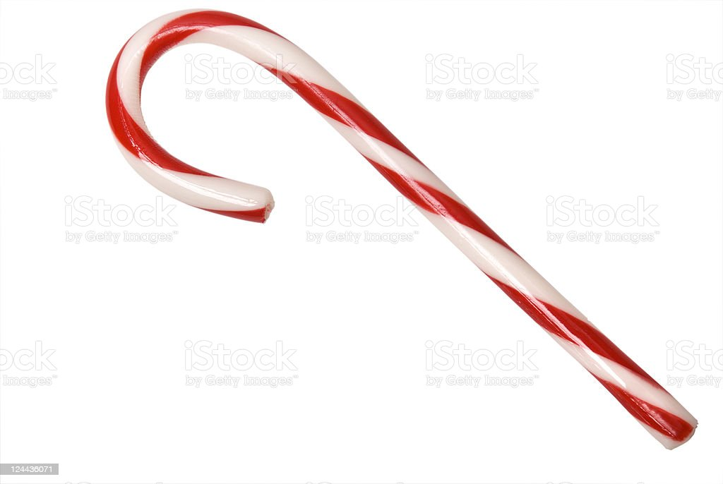 Isolated Candy Cane with clipping path stock photo