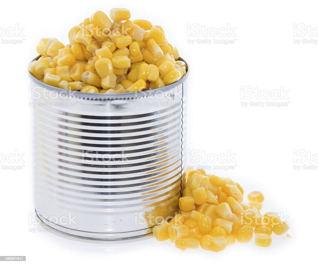 Isolated Canned Corn stock photo