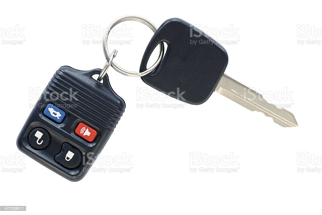 Isolated car key and remote. stock photo