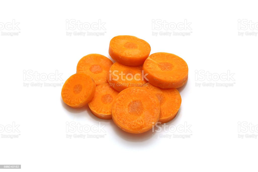 Isolated carrot sliced on white background with clipping path stock photo