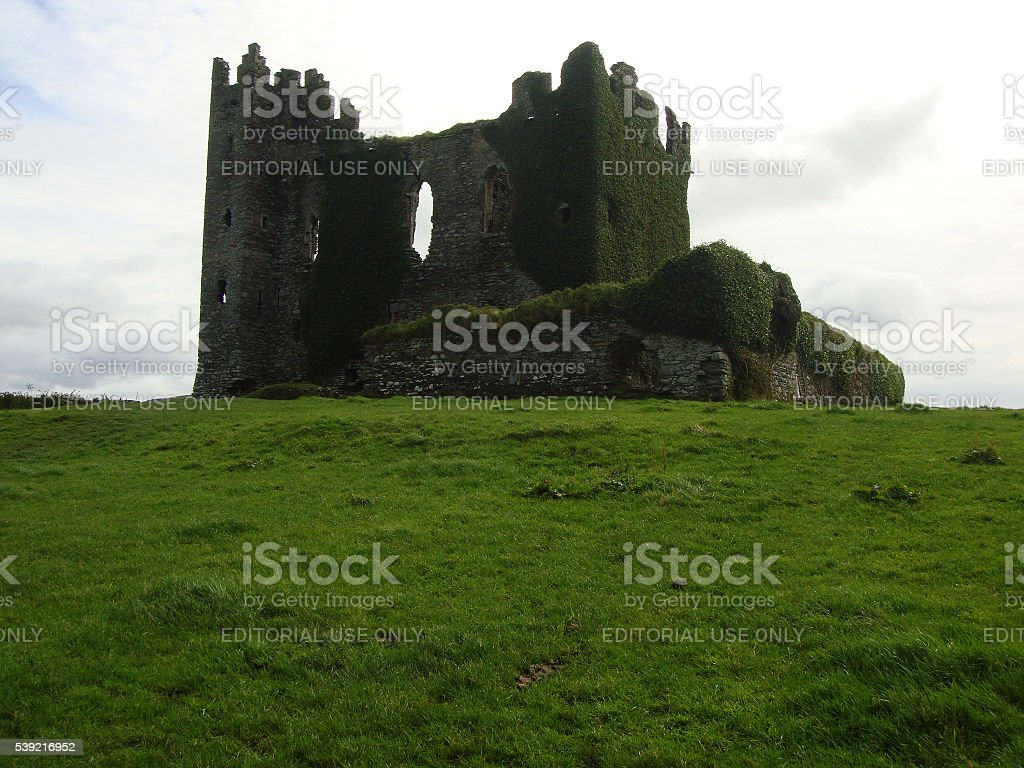 Isolated castle and the toll of time stock photo