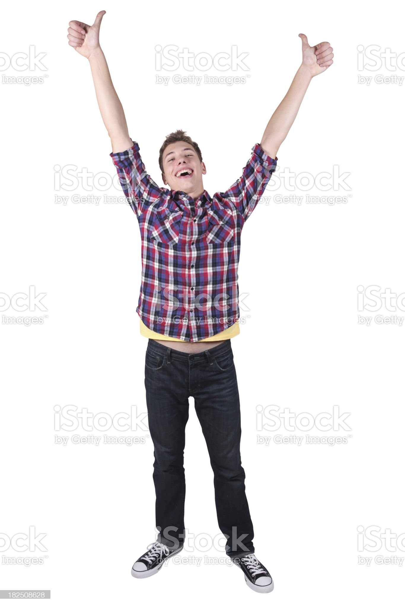 Isolated casual male arms raised and thumbs up royalty-free stock photo