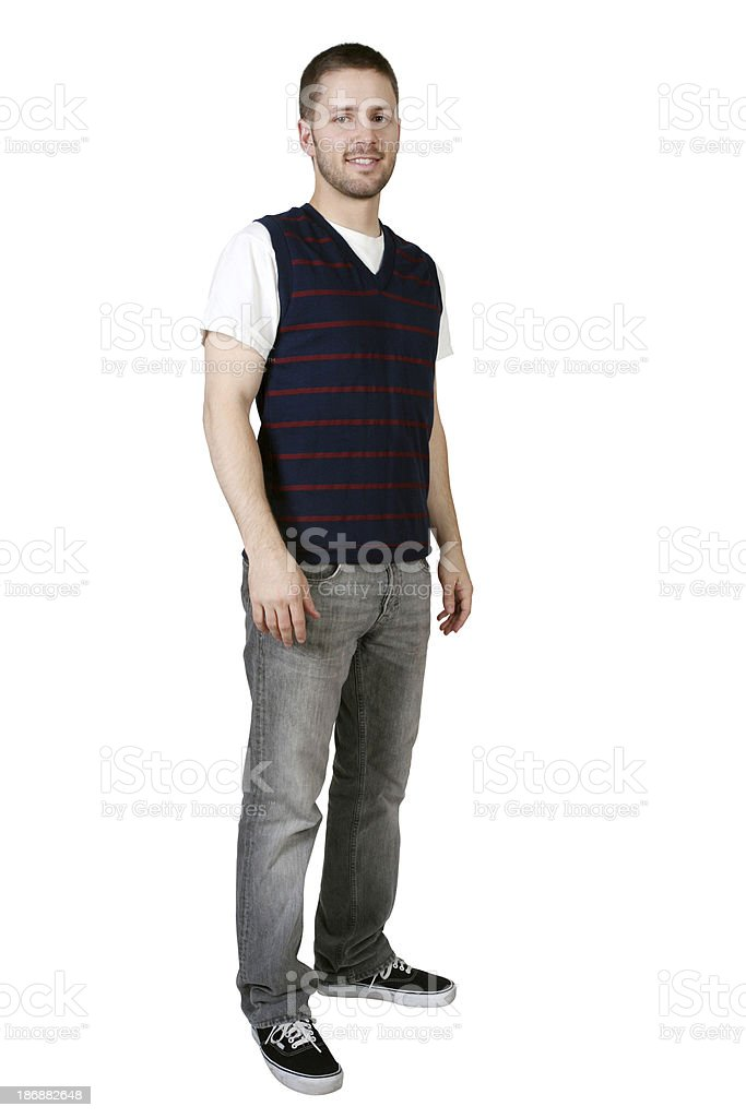 Isolated casual male standing stock photo