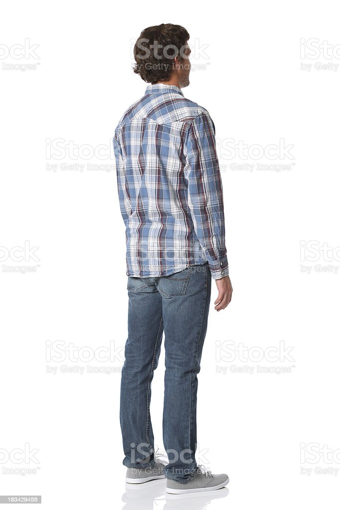 Isolated casual man rear view stock photo