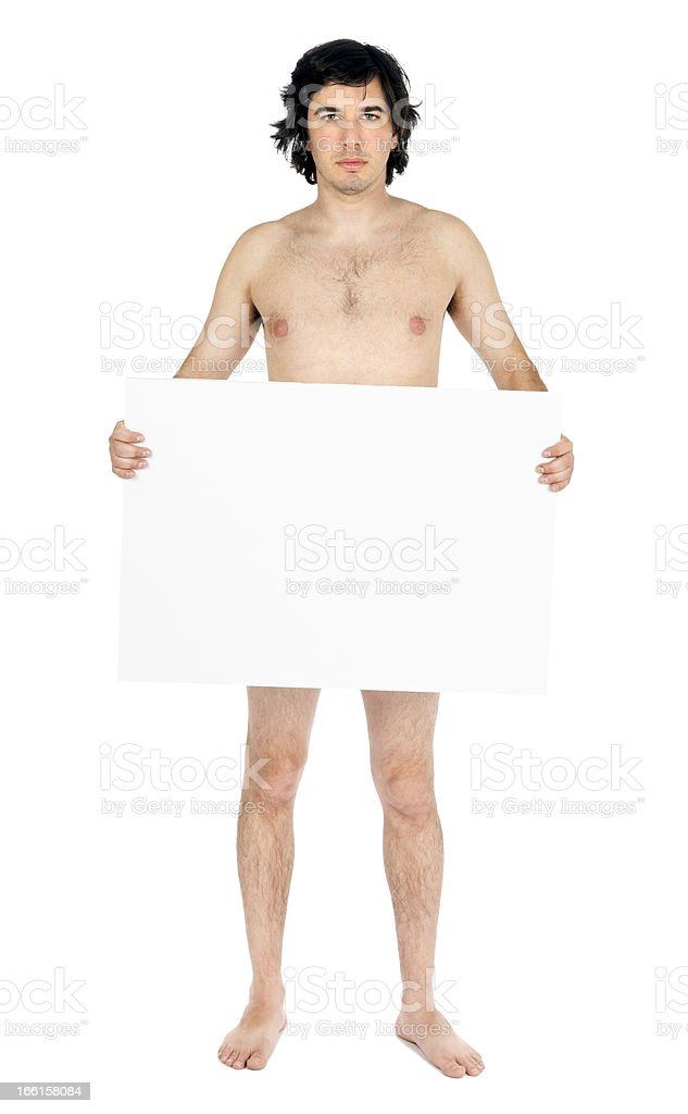 Isolated Caucasian Adult Nude Man Holding Sign royalty-free stock photo