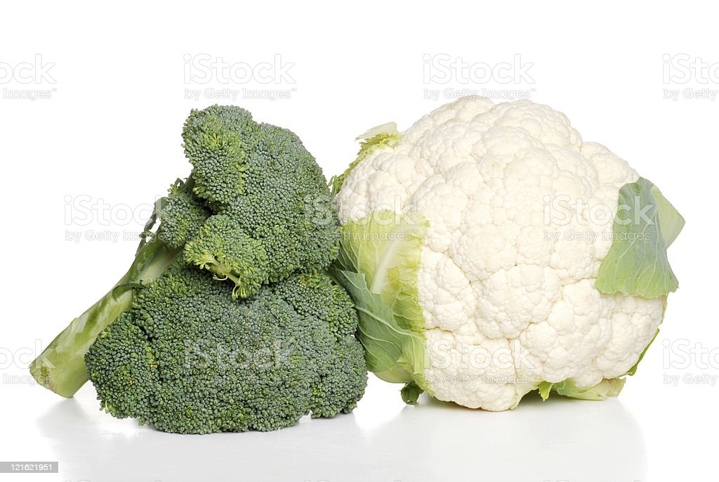 isolated cauliflower and broccoli royalty-free stock photo