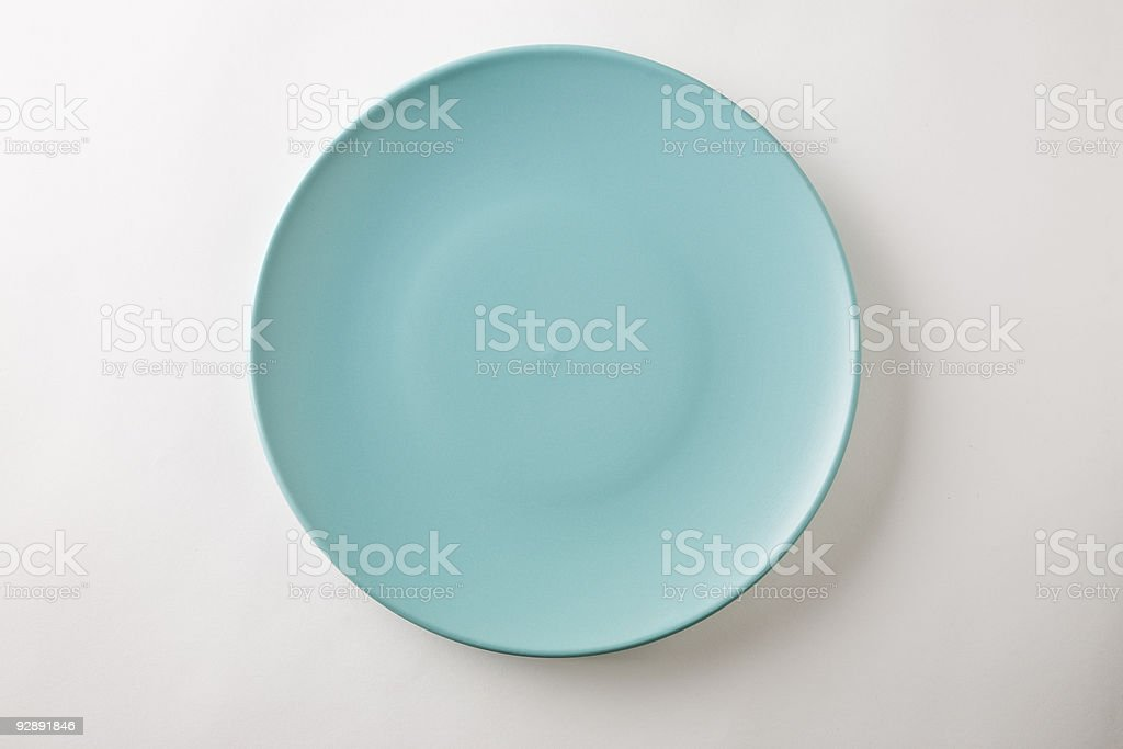Isolated Ceramic Dinner Plate - Aqua (turquoise) stock photo