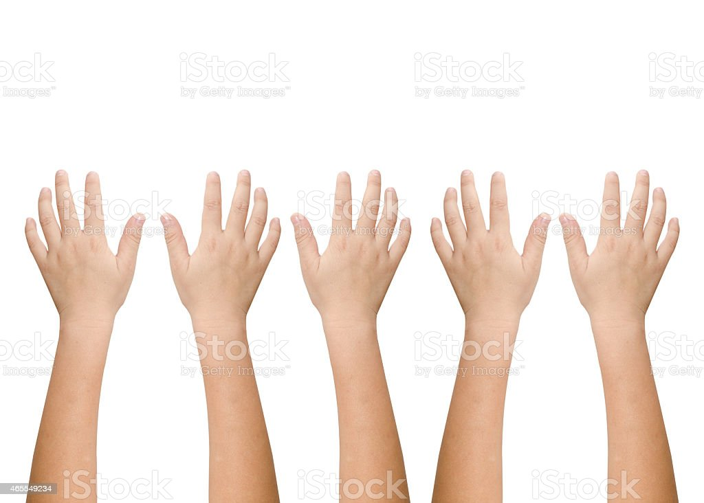isolated child hand shows the number five stock photo