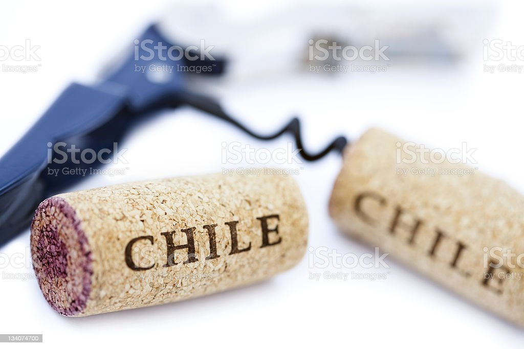 Isolated 'Chile' Corks and Bottle Opener stock photo