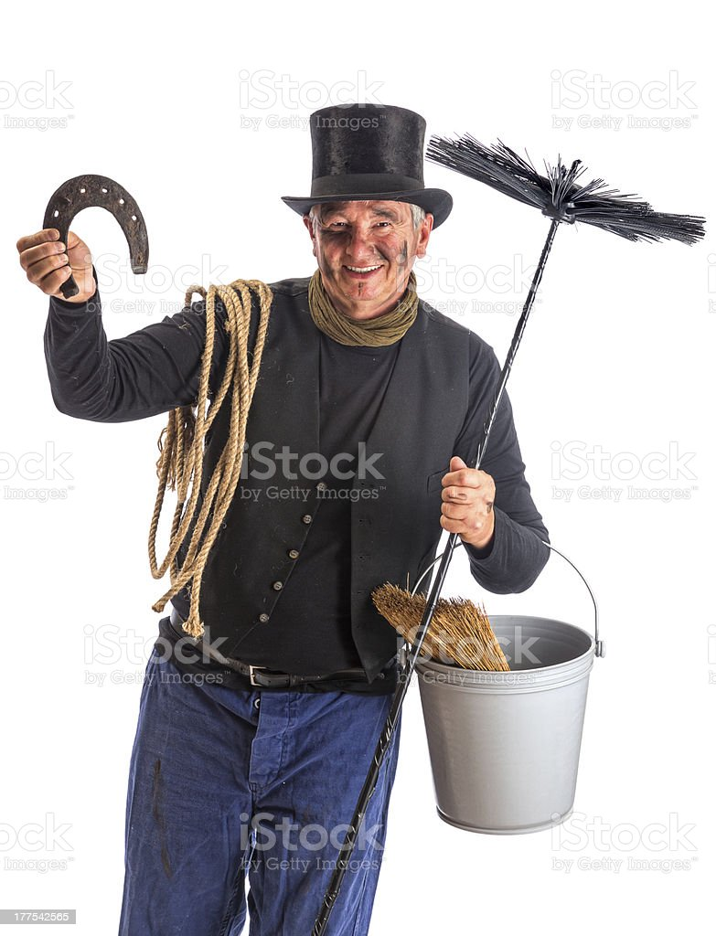 Isolated chimney sweep with horsehoe stock photo