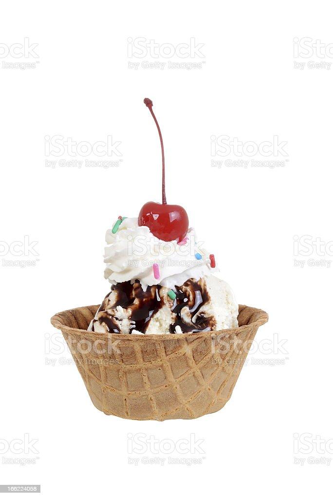 Isolated chocolate sundae with cherry stock photo