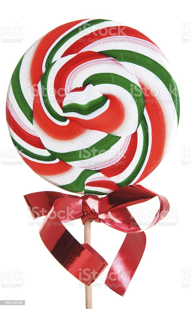 Isolated Christmas Lollipop with a Red Ribbon royalty-free stock photo