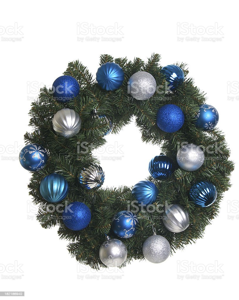 Isolated Christmas Wreath with Silver and Blue Ornaments stock photo