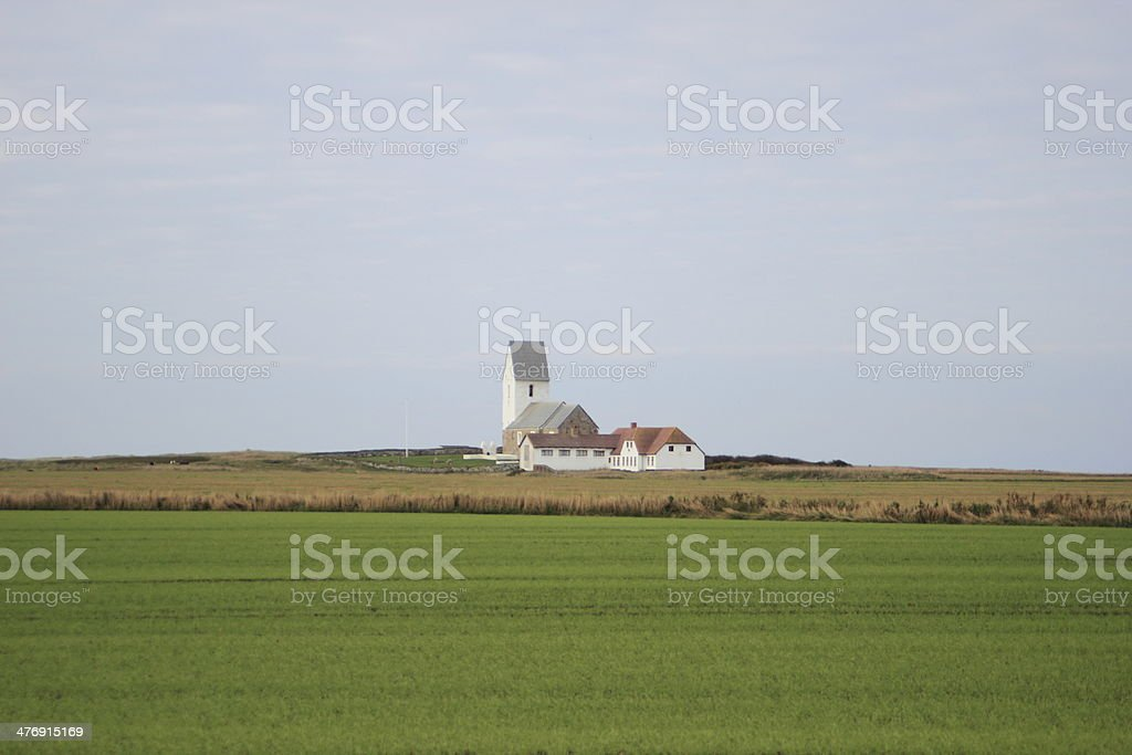 Isolated church near Northern sea without any neighbours stock photo