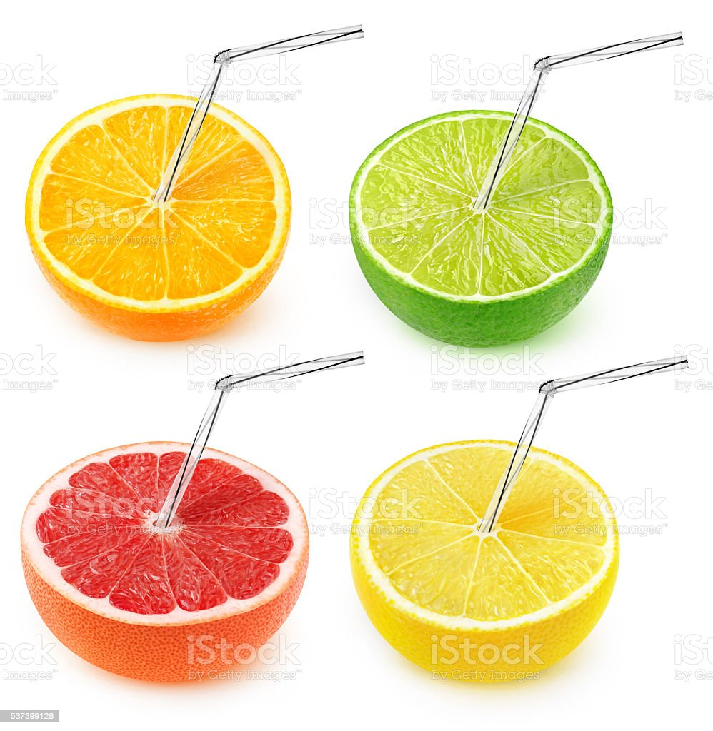 Isolated citrus juice collection stock photo
