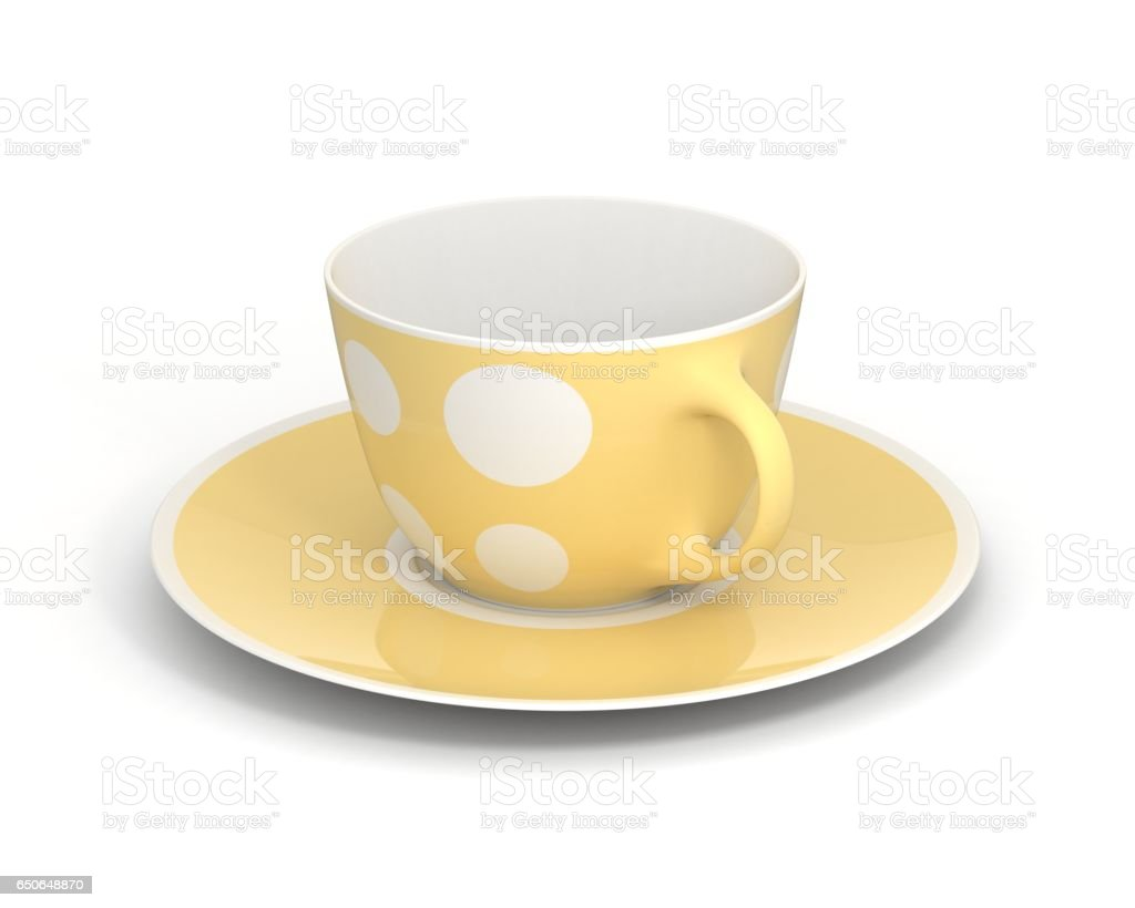 Isolated classic cup with pattern on white background. 3D Illustration. stock photo