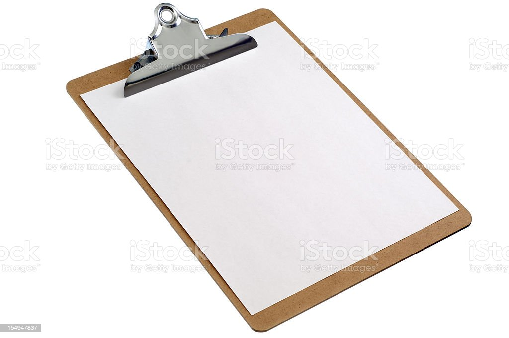 Isolated clipboard with blank sheet of paper royalty-free stock photo