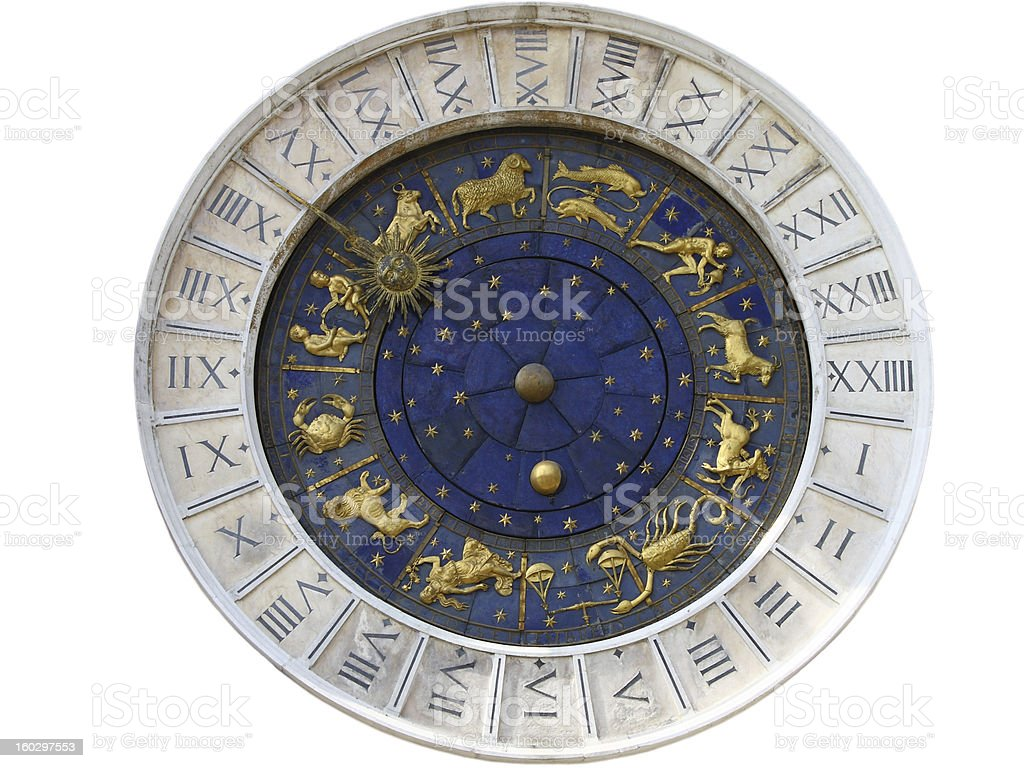 Isolated clock face on piazza San Marco Venice, Italy royalty-free stock photo