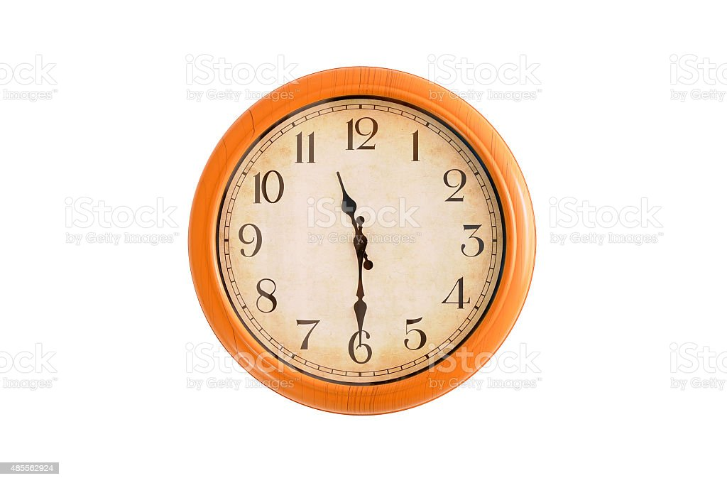 Isolated clock showing 11:30 o'clock stock photo