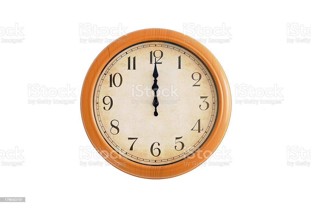 Isolated clock showing 12 o'clock on a white wall royalty-free stock photo