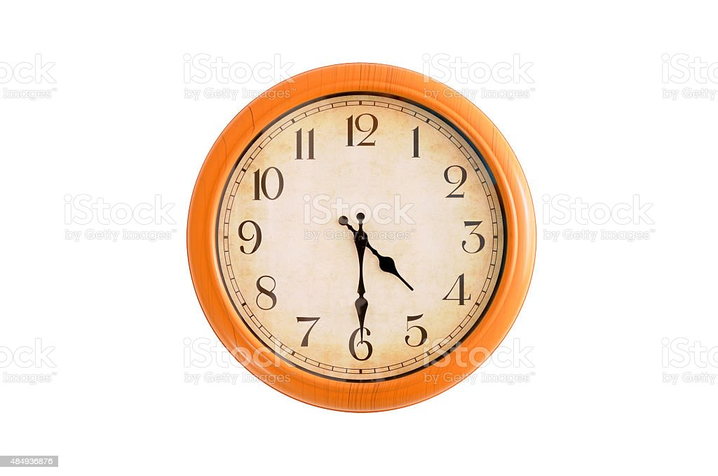 Isolated clock showing 4:30 o'clock stock photo