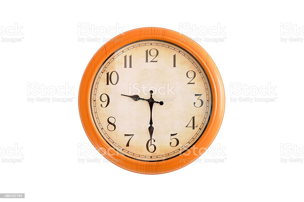 Isolated clock showing 9:30 o'clock stock photo