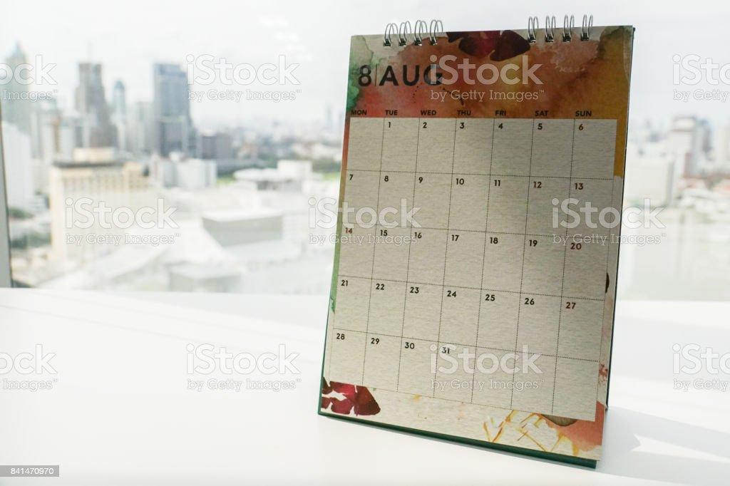 isolated close up August calendar for making appointment in office stock photo