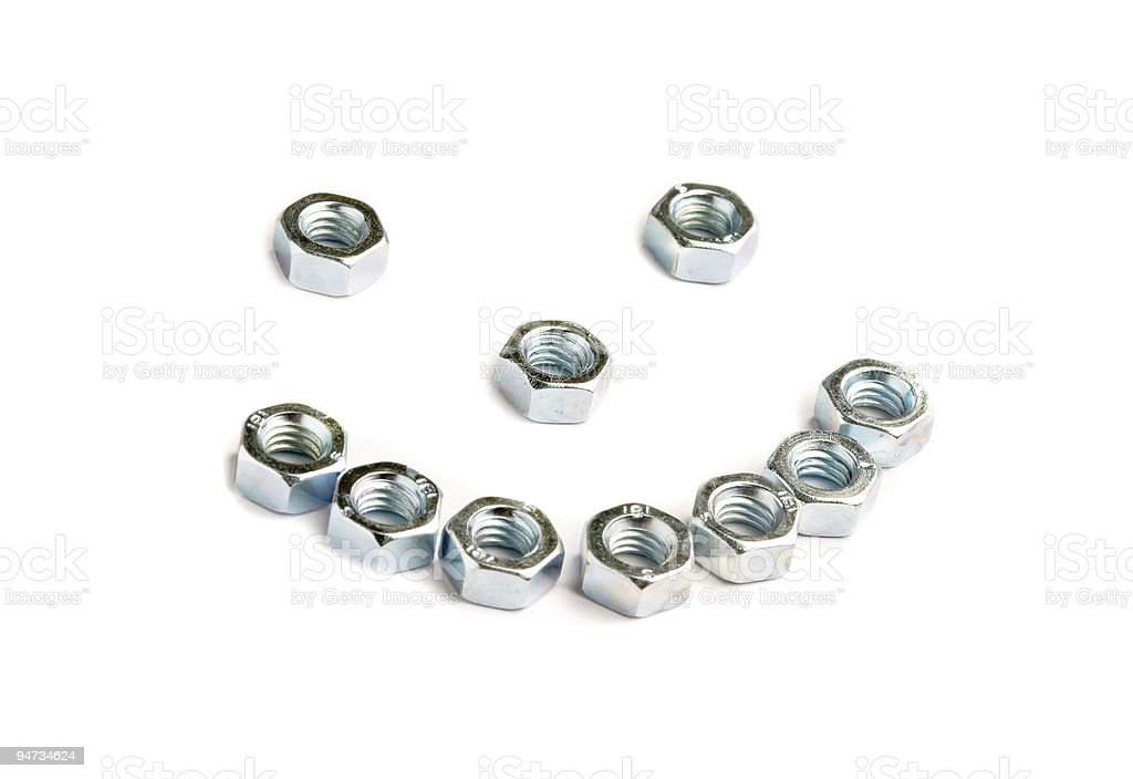 isolated close up bolts and nuts royalty-free stock photo