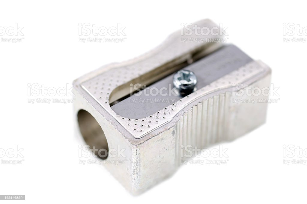Isolated closeup of pencil sharpener stock photo