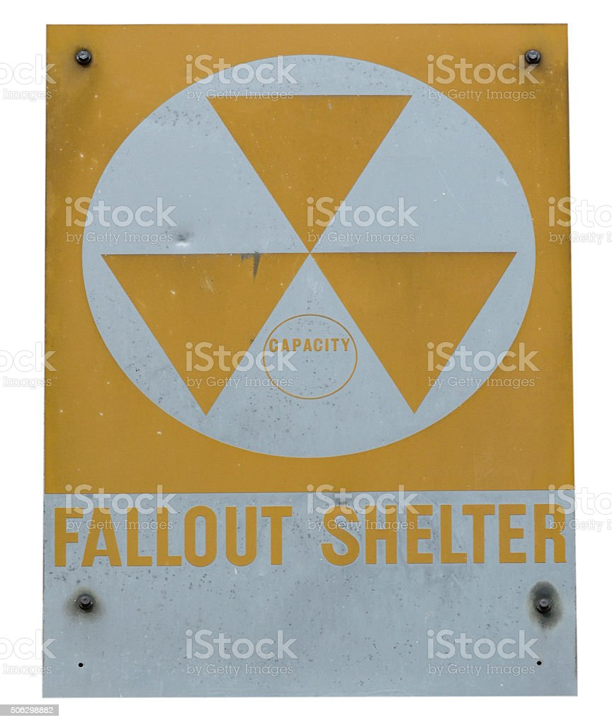 Isolated Cold War era FalloutSshelter sign stock photo