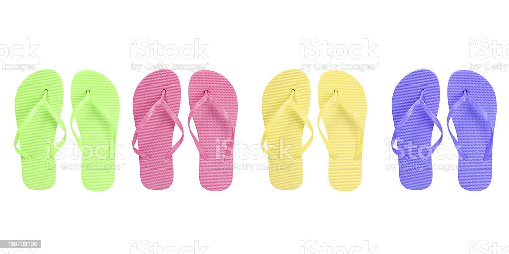 Isolated Colored Flip-Flops royalty-free stock photo