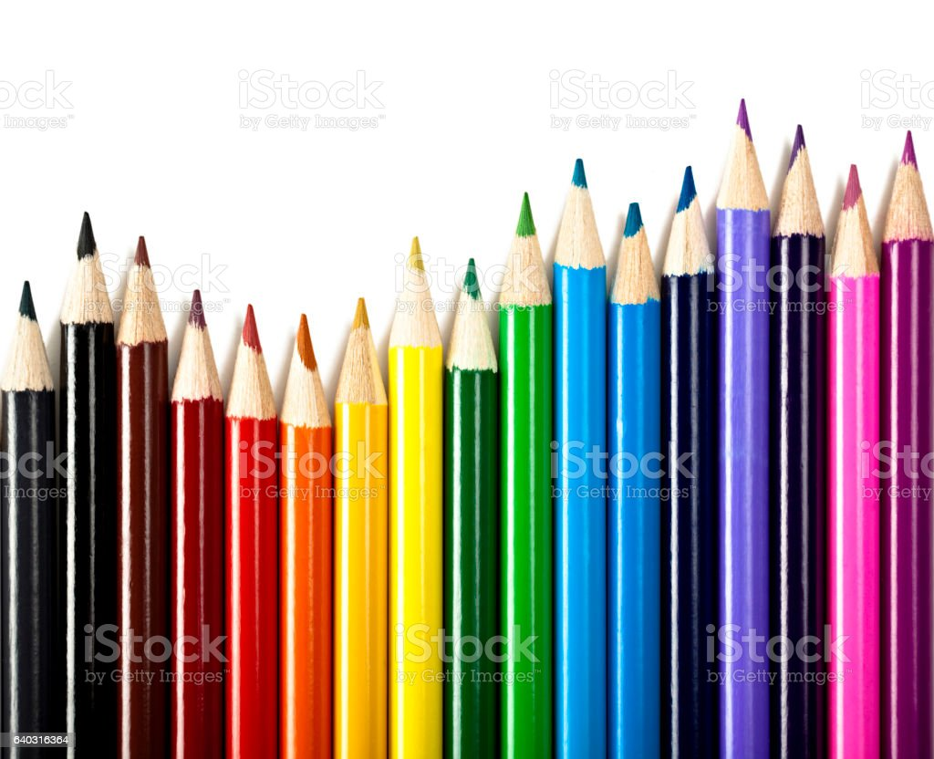Isolated colored pencil stock photo