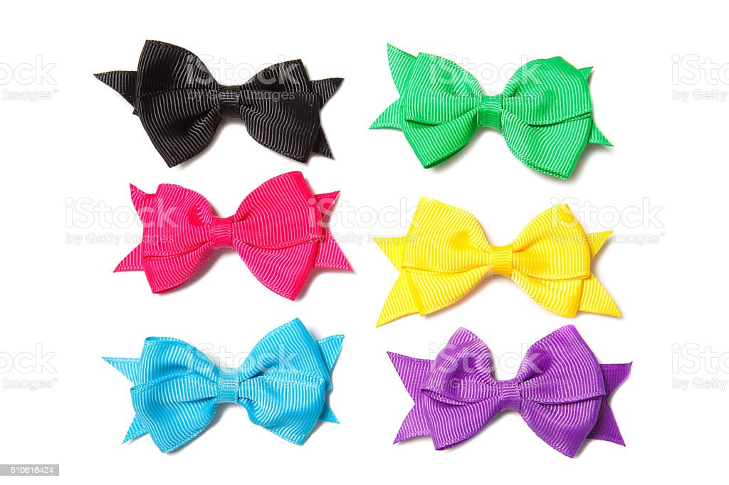 Isolated Colorful Hair Bows stock photo