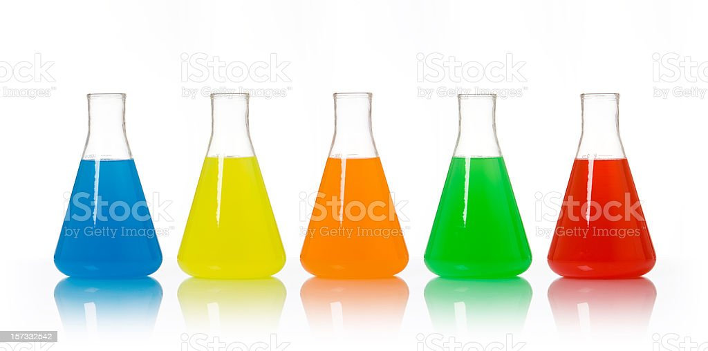 Isolated Colorful Scientific Beakers royalty-free stock photo