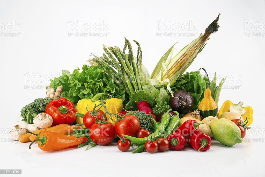 Isolated Colorful Vegetable Arrangement royalty-free stock photo