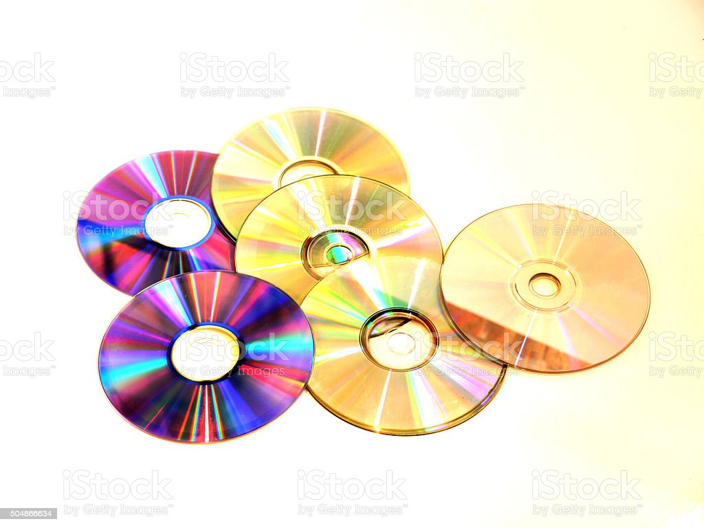 Isolated Compact Disks stock photo